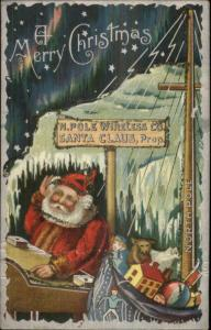 Christmas Santa Claus Wireless Station North Pole c19190 Postcard - Glitter