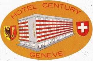 Switzerland Geneve Hotel Century Vintage Luggage Label sk4133