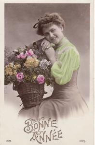 Women portraits lovely lady flowers New Year greetings early photo postcard