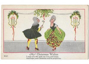 My Christmas Wishes Poem Couple Art Noveau Style