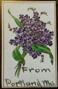 Portland Michigan~Bouquet of Embossed Forget-Me-Nots~Glitter Added~c1910 Pc