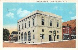 RUTLAND, Vermont VT   MARBLE SAVINGS BANK Street View~Tailors  ca1920's Postcard