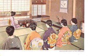 Hostess and Guests at Tea Ceremony Japan Unused