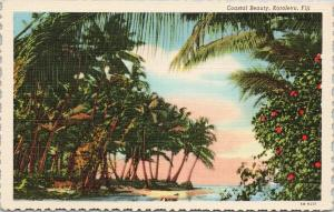 Coastal Beauty Korolevu Fiji Palm Trees UNUSED Vintage Linen Postcard D99