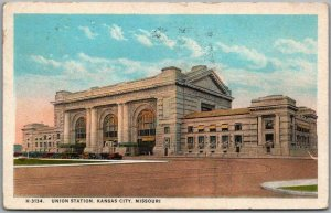 1927 Kansas City MO Postcard Union Station Depot View FRED HARVEY #H-3134