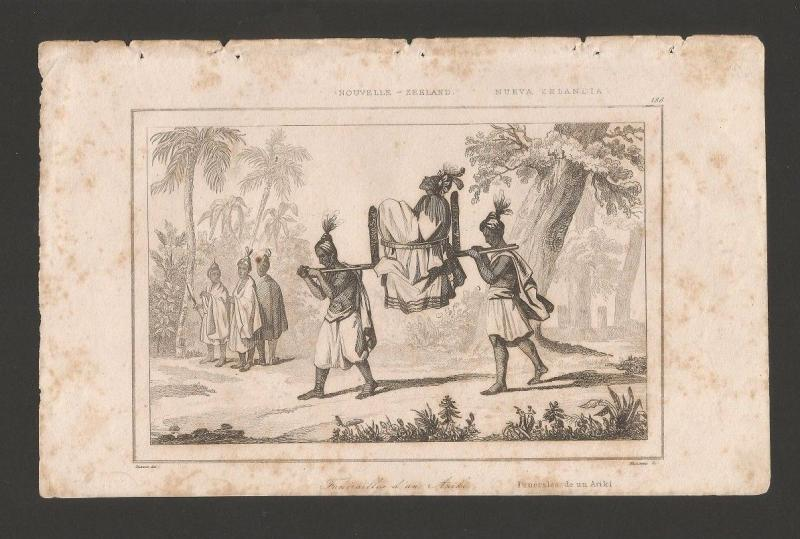 ANTIQUE PRINT 19CenturyYear1830 NEW ZEALAND NATIVE INDIAN ARIKI FUNERAL  Z1