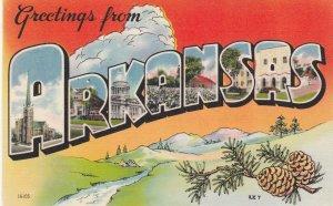 Large Letter Greetings from ARKANSAS, 1930-40s