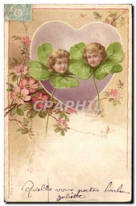 Old Postcard Fancy Heart Children Trefles