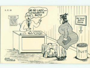 Pre-1980 Comic WOMAN MAKES HIS MISTAKE ABOUT BUTTS - MEANING CIGARETTES AC0198