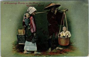 NAGASAKI,  JAPAN      TRAVELING FAMILY on the ROAD    c1910s   Postcard