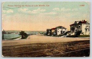 Oakland CA Huge Homes @ Point of Lake Merritt~Interurban Track Astride~c1914