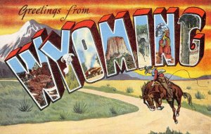 USA Linen 1930-45 Large Letter Postcard, Greetings from Wyoming BB6
