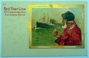 3 VINTAGE POSTCARDS GOLD PRINTING OF RED STAR LINE - 1920. UNUSED!!!