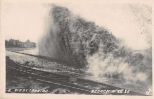 Rio de Janeiro Brazil Wave Crashing Ashore Real Photo Antique Postcard J63792