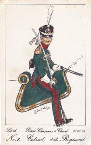 Chasseurs A Cheval Polish Colonel 1st Regiment Soldier Napoleonic War Postcard