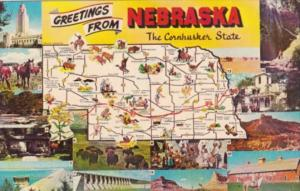 Greetings From Nebaska The Cornhusker State With Map