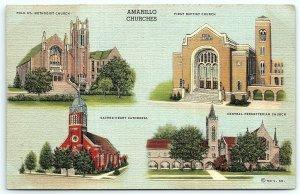 VTG Postcard Linen Amarillo Churches Multi View Texas TX Polk St Baptist A5