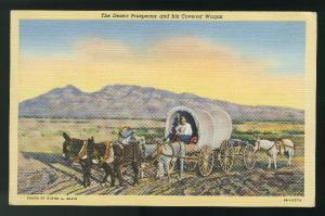 Desert Prospector Covered Wagon Tortilla Flat Postmark Linen 1941 Postcard