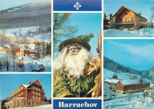 Postcard Czech republic multi view harrachov winter scene snow chalet ski old