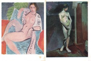 Henri Matisse Draped Nude Study In Blue 2x Tate Gallery Painting Postcard