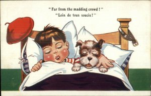 Cute Little Boy Asleep in Bed w/ Dog FAR FROM THE MADDING CROWD Postcard