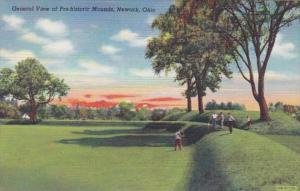 Ohio Newark General View Of Prehistoric Mounds Golfers Curteich