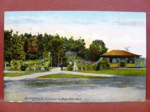 Postcard VT Burlington Entrance to Ethan Allen Park 1910