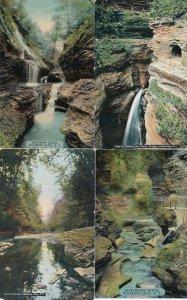 (4 cards) Watkins Glen NY, New York - Waterfalls and Gorge Scenes - DB