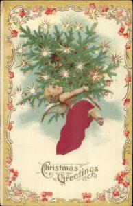 Christmas Cherub w/ Decorated Tree REAL SILK c1910 Postcard rpx