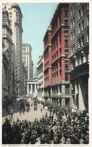 Broad Street and the Curb Brokers, New York, N.Y., Early Postcard, Unused