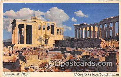 Color Foto by Trans World Airlines Postcard Post Card Acropolis at Athens