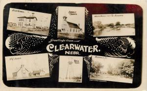 c1910 RPPC Multiview Postcard Clearwater NE Antelope County School Churches etc.