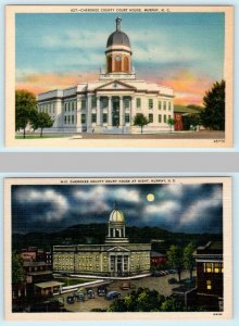 2 Postcard MURPHY, North Carolina NC ~ Day/Night CHEROKEE COUNTY COURT HOUSE