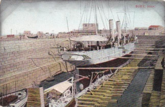 Egypt Steamer Docked At Suez dock In The Suez Canal