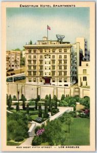 Los Angeles, California Postcard ENGSTRUM HOTEL APARTMENTS 623 W 5th St. Linen
