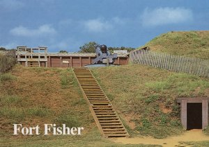 Shepherds Battery Gun at Fort Fisher Kure Beach NC USA Postcard