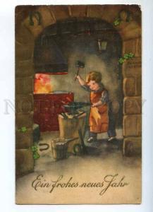 240871 Blacksmith Boy by Hannes PETERSEN Vintage postcard