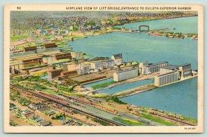 Duluth Minnesota~Lift Bridge~Harbor Entrance~Peavey Elevator~RR Yards~1937 Linen
