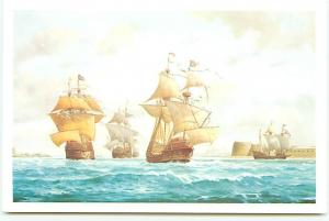 Postcard mary Rose Henery Grace Dieu Portsmouth Harbor Painting ship   # 3511A