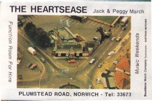 The Heartsease Plumstead Road Norwich Norfolk Pub Old Matchbox Label