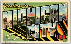 1940s MICHIGAN CITY Indiana Large Letter Postcard Curteich Linen 9A-H1681 Unused
