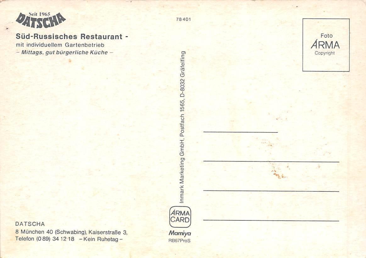 Datscha Muenchen Sued Russische Restaurant Kueche Kitchen / HipPostcard
