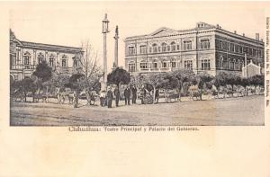 CHIHUÁHUA MEXICO~TEATRO PRINCIPAL~PALACIO GOBIERNO~SCHNEIDER PUBL POSTCARD 1900s