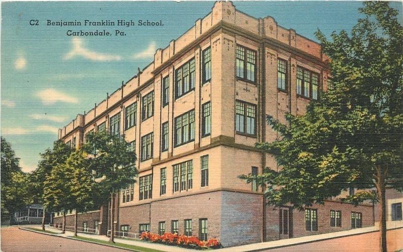 Carbondale Pennsylvania~Benjamin Franklin High School~1940s Linen Postcard