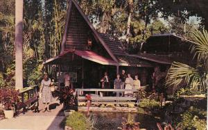 Balinese Entrance, McKee Jungle Gardens, Woman Walking a Monkey, Macaws, VERO...