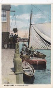 Massachusetts Gloucester Wharf Scene Curteich