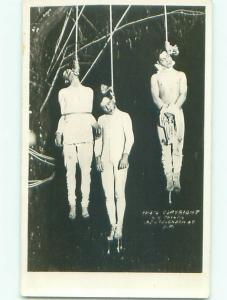 rppc Pre-1930 Lynching hanging THREE MEN HUNG - SAN FRANCISCO COPYRIGHT AC7853