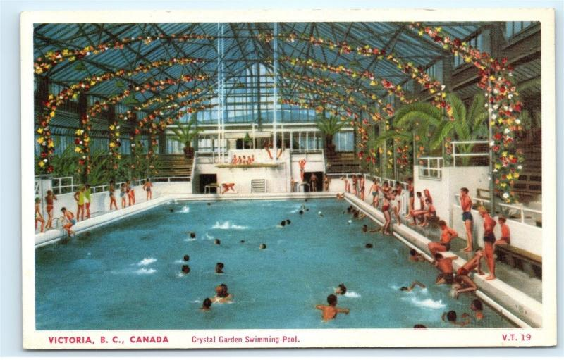 Victoria bc canada crystal garden swimming pool vancouver island postcard a97 hippostcard for Swimming pool supplies vancouver