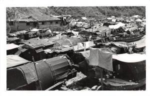 E54/ Foreign Postcard CHINA RPPC Boat Village c1940s