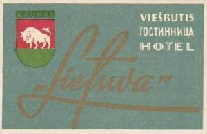 RUSSIA VIESBUTIS HOTEL LIETUVA VINTAGE LUGGAGE LABEL